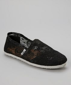 Take a look at this Black Lace Slip-On Shoe by Shoes of Soul on #zulily today!