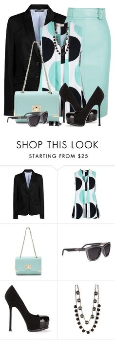 """""""Mint Pencil Skirt and Polka Dot Top"""" by brendariley-1 ❤ liked on Polyvore featuring ESPRIT, Balenciaga, Marni, Alexander Wang, Yves Saint Laurent, Nordstrom Rack and Simon Frank"""