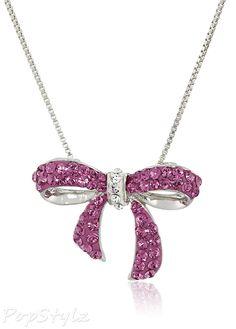 Pink Swarovski Elements Bow Pendant Necklace Swarovski Jewelry, Swarovski  Crystals, Sterling Silver Necklaces, 1fc7f9ff3892