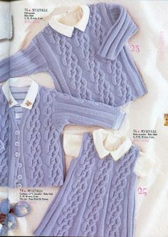 "Cardigan, Dress and Sweater Set ""Myrtille"" « Knits4Kids free knit pattern"
