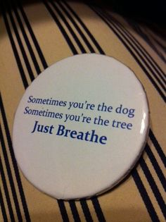 Yoga Pin Button Just Breathe. $2.00, via Etsy.