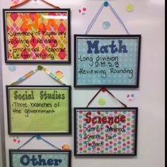 Tired of your Objectives taking up your white board?...Certificate frames from the dollar store, scrapbook paper, and ribbons.