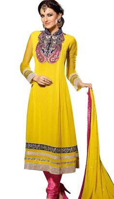 Pakistani Indian Yellow Georgette Anarkali Dresses, Dress