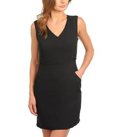 Take a look at this Black V-Neck Dress by 24|7 Frenzy on #zulily today!