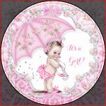Vintage Baby Shower for a girl. Pretty floral flowers, pink umbrella sprinkle, with delicate pink bows and frame. A very pretty little baby shower. Vintage Girl Baby Shower, Sprinkle Baby Shower, Cute Baby Shower.
