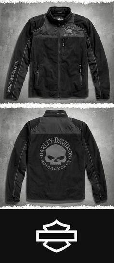 We take the comfort and warmth of fleece and totally jack it up. | Harley-Davidson Men's Skull Windproof Fleece Jacket