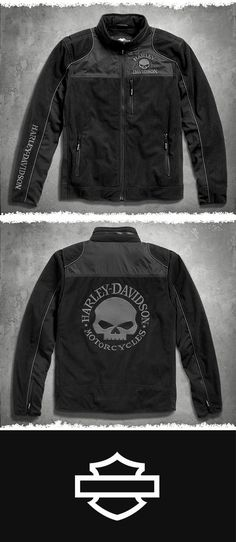 We take the comfort and warmth of fleece and totally jack it up. | Harley-Davidson Men's Skull Windproof Fleece Jacket