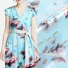 Lotus Flower Floral Print Light Blue Stretch Silk Satin Fabric