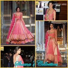 Couture Roll: Bridal Collection Email: shama.collection17@gmail.com OR   Message us: www.facebook.com/messages/Shama.Collection17 This is one such dress you can never miss out... The elegant Lacha by Manish Malhotra makes the budding star Nargis look more beautiful.... Like us for more updates https://www.facebook.com/Shama.Collection17