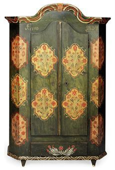 GERMAN, SECOND QUARTER 19TH CENTURY The body painted with floral panels, dated 1834, centred by a pair of doors over a single frieze drawer on tapering square feet..