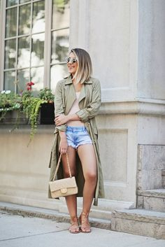 Wear a bodysuit with your trench coat, denim shorts, and sandals.