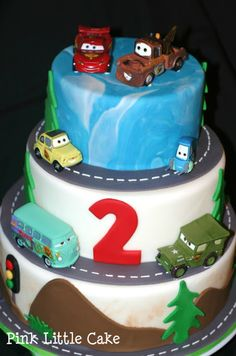 Cars Cake -  Grant's 1st b-day?...use real toy cars?