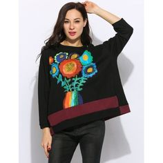 Women O-Neck Long Sleeve Floral Print Casual Pullover Sweatshirt