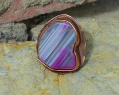 banded agate violet ring gemstone ring large by CopperFinger Copper Rings, Copper Jewelry, Stone Jewelry, Statement Rings, Agate, Gifts For Her, Gemstone Rings, Take That, Band