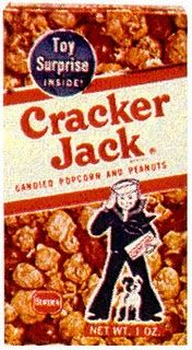 Cracker Jack, when they were good and came with a prize inside (tattoo, ring, miniature book, etc)