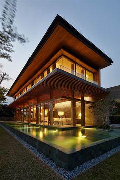 Villa Im Asia-Stil Bietet Luftige Räume Und Schönen Pool - Singapur - Greg Shand Architects