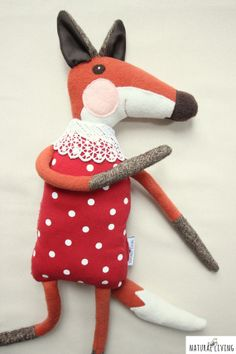 TOADSTOOL LADY FOX cute and sweet handmade fox by NATURALLIVINGpl
