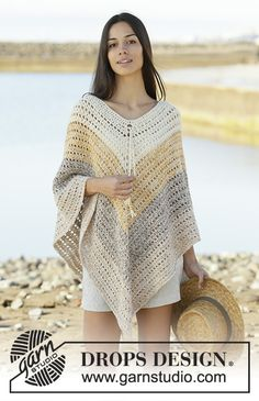 Beach paradise / DROPS - free crochet patterns by DROPS design Crocheted poncho with stripes in DROPS alpaca. The piece is worked in 2 threads alpaca from top to bottom. Poncho Au Crochet, Crochet Poncho Patterns, Crochet Shawls And Wraps, Shawl Patterns, Knitting Patterns Free, Easy Crochet, Free Knitting, Free Crochet, Knit Crochet