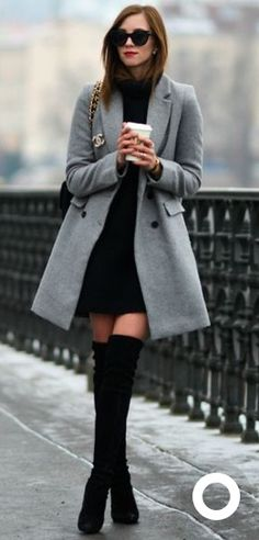 Gray pea coat with knee boots