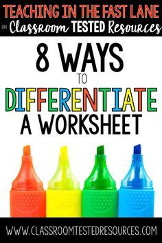Eight ways to differentiate worksheets in your classroom. The last one has been … Eight ways to differentiate worksheets in your classroom. The last one has been a life saver, and is very empowering for the students! Co Teaching, Teaching Strategies, Student Teaching, Teaching Ideas, Forex Strategies, Student Data, Teaching Methods, Special Education Classroom, Elementary Education