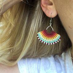Macrame earrings with seed bead accents, boho earrings, Costa Rica jewelry, costa Verde Bracelets, handmade earrings, woven wax cord earrings