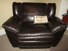 NET  One of a pair of leather  chair  n aReclining chair and a half  almost a love seat    Ashley   Home  . Reclining Chair And A Half Leather. Home Design Ideas