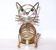 Vintage CAT LETTER HOLDER Coil Spring Green Rhinestone Eyes