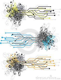 circuit board design | Grunge circuit board design using electronic circuit patterns and ...
