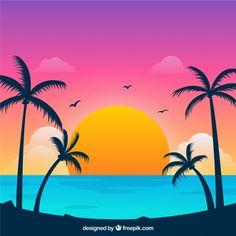Praia tropical paradisíaca com lindo pôr. Photomontage, Montage Photo, Animation, Tropical Flowers, Watercolor Landscape, Art Drawings, Abstract, Wallpaper, Artwork