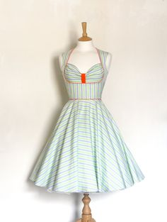 Grey and Green Striped Bustier Dress Made by Dig by digforvictory