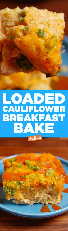 Low-carb lovers, you won't miss the hash browns in this Loaded Cauliflower Breakfast Bake. Get the recipe on delish.com.