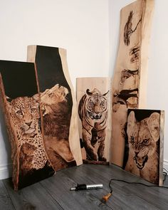 5 of my best works. A mixture of sycamore and mountain beech wood. Each pyrography piece took me an average of hours. Wood Burning Kits, Wood Burning Crafts, Wood Crafts, Reclaimed Wood Wall Art, Wood Art, Wood Burning Techniques, Wood Burn Designs, Wood Table Design, Creative Arts And Crafts