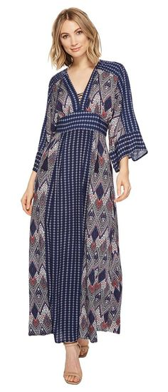 Brigitte Bailey Carson V-Neck Maxi Dress (Navy/Multi) Women's Dress - Brigitte Bailey, Carson V-Neck Maxi Dress, ED13863WLHC6, Apparel Top Dress, Dress, Top, Apparel, Clothes Clothing, Gift, - Street Fashion And Style Ideas