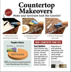 Revamp your outdated countertops with Giani Granite Paint kits! www.gianigranite.com          #diy