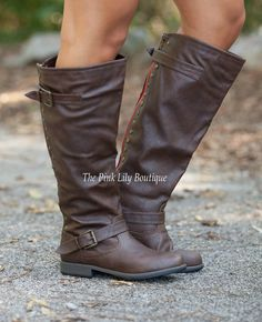 The Pink Lily Boutique - Walk The Line Studded Boots Dark Brown, $52.00 (http://thepinklilyboutique.com/walk-the-line-studded-boots-dark-brown/)