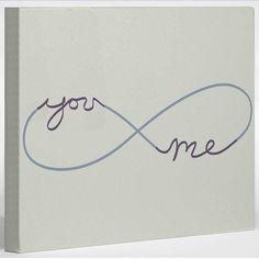 Infinite You & Me Canvas 10x8 art, cream, one bella casa