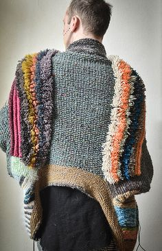 Gather a colorful array of stash and scrap yarns and knit a versatile statement…