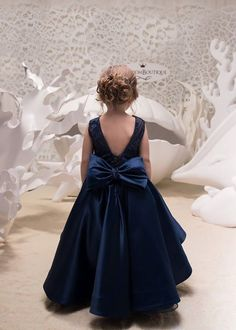 Items similar to Navy Blue High Low Satin Flower Girl Dress - Wedding Holiday Party Bridesmaid Birthday Flower Girl Navy Blue Lace Dress on Etsy Kids Prom Dresses, Baby Girl Party Dresses, Blue Bridesmaid Dresses, Baby Dress, Navy Blue Flowers, Satin Flowers, Blue Lace, White Flower Girl Dresses, Flower Girls
