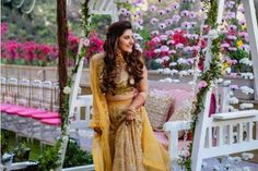 #Vorafoundhissikka - Blogger Trishala Love Bug's Wedding With Serious Bridal Look Goals! | (C) The Wedding Salad | Outfit by JADE | Mehendi outfit ideas | Yellow lehenga | Bride to be | Bridal Photography | Indian Wedding | Mehendi decor | Flower decor | Swing | Pastel wedding | Love and Other Bugs | Haldi | Mehendi hairstyles | Chooda ceremony | #wittyvows #indianblogger #jade #yellow #lehenga #bridetobe #mehendioutfit #haldi #indianwedding #weddingphotography #decor #mehendidecor #swing Blush Pink Outfit, Pink Outfits, Post Wedding, Wedding Sets, Indian Mehendi, Minimal Makeup Look, Bridal Makeup Tips, Yellow Lehenga, Bridal Photography