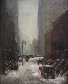 """""""Snow in New York"""", Robert Henri, 1902.  Although Ashcan School art tends to be darker, I really like this piece."""