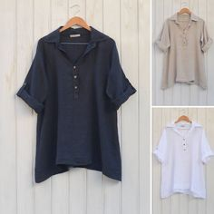 c470b4acf1832 Lagenlook Plus Size Linen Blouse Ladies Womens Vintage Summer Quirky Artsy  New Style