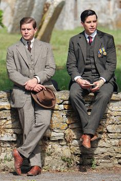 Father to Sybbie Allen Leech (Tom Branson), looks rather dapper alongside fellow cast member Rob James-Collier (Thomas Barrow)