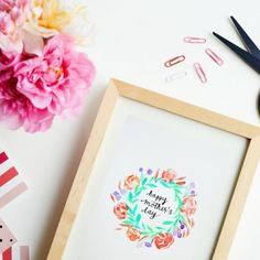 Watercolor printables for Mothers Day. Free.