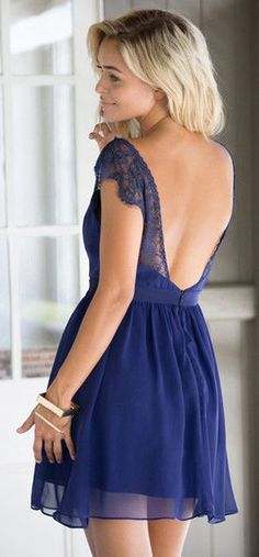 Pretty Navy Blue Dress - Low Back