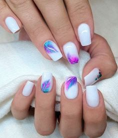 White with Purple Pink Teal feathers