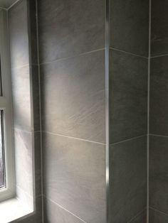Porcelain Wall Tiling in an installation project by UK Bathroom Guru New Bathroom Ideas, Best Bathroom Vanities, Bathroom Interior, Small Bathroom, Bathroom Chrome, Modern Bathrooms, Family Bathroom, Schluter Tile Edge, Walk In Shower Enclosures