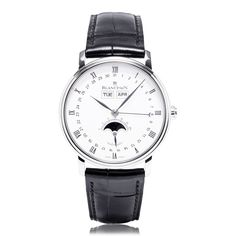 Model: Blancpain Villeret Moon-Phase Automatic with Complete Calendar.  Features: This automatic watch has a complete calendar with a moon-phase indicator. 100 hour power reserve.  Availability: This model is available to buy from The Wonder Room, Selfridges in London. For more information call our Concierge on 020 7952 2730.