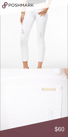 Michael Kors Skinny Jeans Michael Michael Kors Izzy Cropped Skinny Jeans in white. Mid-rise, stretchy denim. Subtle distress at mid leg and pockets. Gold detail trademarks these classy jeans! MICHAEL Michael Kors Jeans Skinny