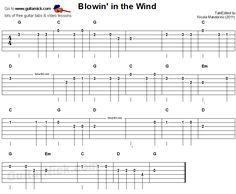 Blowin' In The Wind - easy guitar tablature