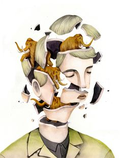 Lovely & Fantastic Illustrations Show Animals Emerging From Exploding Heads #illustration #animals